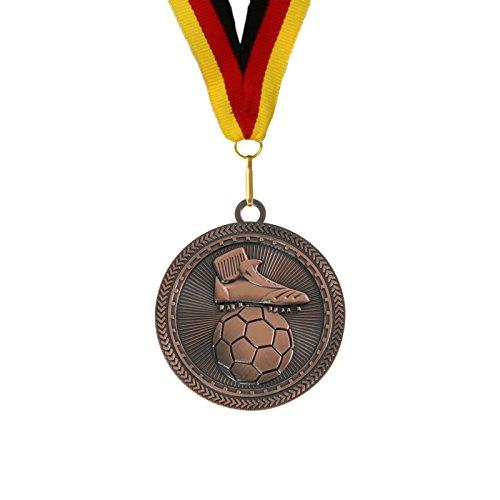 pokalspezialist 10 Stück 7 cm extra große Medaille Fußball Bronze inklusive Band -