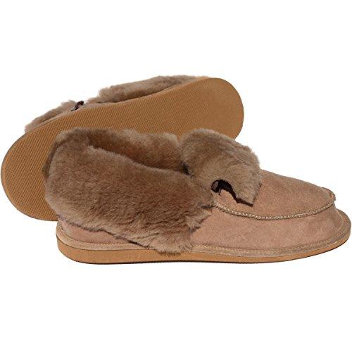 Peau de mouton Chaussons - MAX Homme Chaussures avec laine Marron