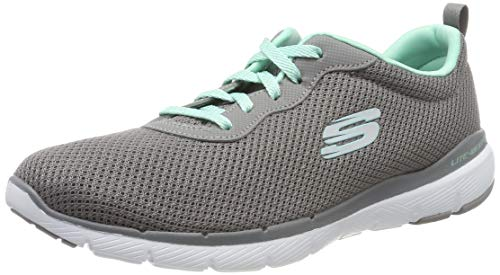 Skechers Damen Flex Appeal 3.0-First Insight Sneaker, Grau (Gray Mesh/Mint Trim Gymn), 38.5 EU