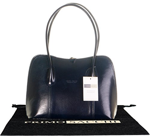 Cuoio lucido liscio italiano classico stile borsetta Tote Grab Bag o borsa a tracolla.Include una custodia protettiva marca Blu marino