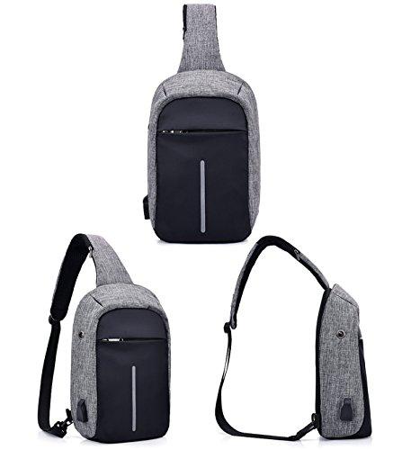 Super moderno unisex caricatore USB port tracolla in nylon tracolla antifurto intelligente borsa da viaggio con auricolare, Uomo, DarkBlue, S Rose