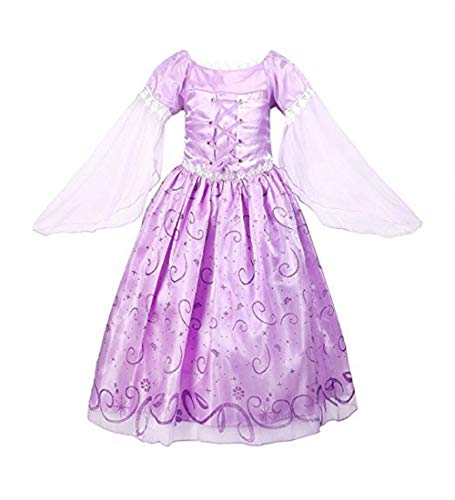 Beunique Robe Princesse Raiponce Costume Cosplay Halloween Noël Anniversaire Carnaval Cadeau pour Enfant Fille Robe de Soirée Partie Conte de Fées