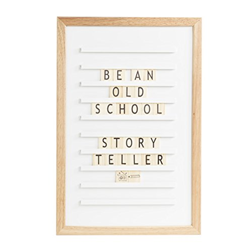 LEDR Oldschool Letter Board 30 x 45 - Inklusive 200 Buchstaben, Symbole & Sonderzeichen und einstellbar Ständer - Eichenrahmen - Weiße Front