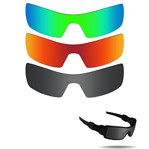 Fiskr Anti-Saltwater Polarisierte Ersatz Gläser für Oakley Oil Rig Sonnenbrille 3Paar Pack, Stealth Black & Fire Red & Emerald Green
