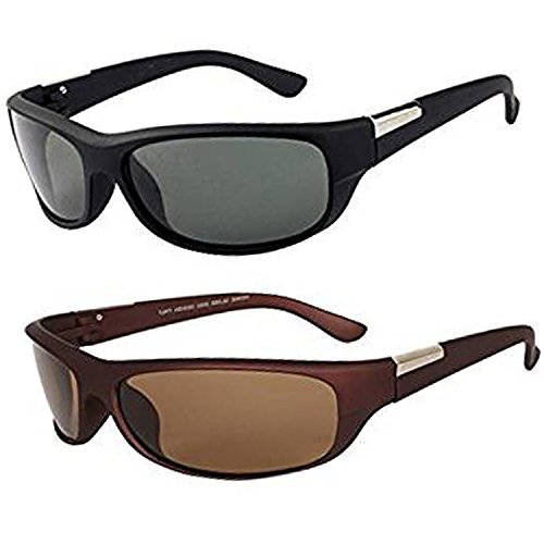 Y&S UV Protected Men\'s Sunglasses Combo-(Black-Brown-Wrap-Combo|55 mm)