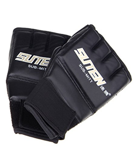SaySure - MMA Boxing Gloves PU Leather Half Mitts Mitten Muay Thai