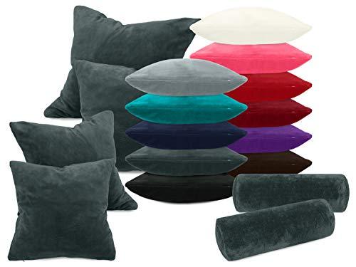 laken24 Kissenhüllen aus Coral-Kuschel-Fleece (2 Stück) - in 11 Unifarben - in 3 Größen, ca. 40 x 15 cm, anthrazit