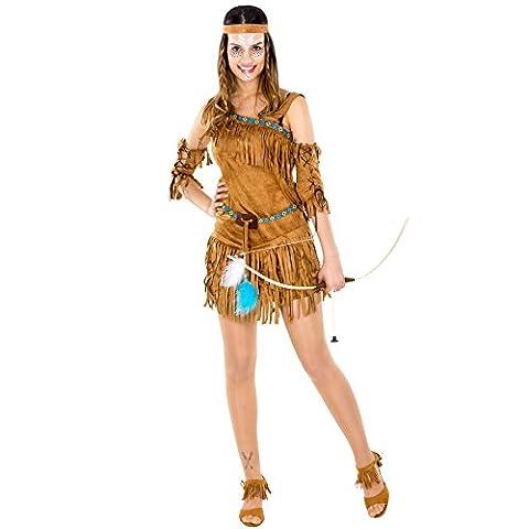 Damenkostüm sexy Indianerin | Kleid + wundervolles Haarband und Oberarmstulpen (L | Nr. 300551) (Halloween Kostüm-ideen Paare)
