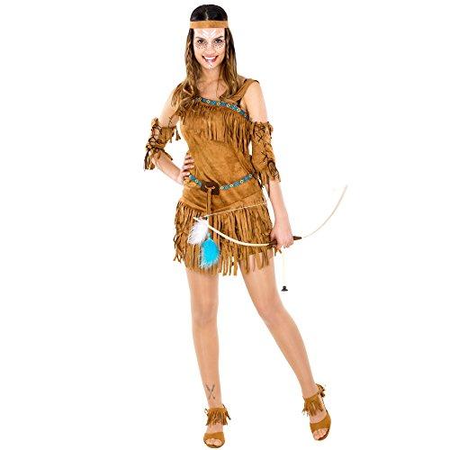 Damenkostüm sexy Indianerin | Kleid + wundervolles Haarband und Oberarmstulpen (L | Nr. (Halloween Männer Kostüm 2017)