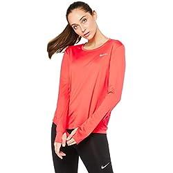 Nike W NK Miler Top LS Long Sleeved t-Shirt, Mujer, Ember Glow/Reflective silv, L
