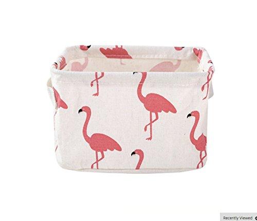Kanggest 1 Piezas Caja de Almacenamiento Cesta plegable Caja de almacenamiento de tela Mesa escritorio rectángulo Organizador Caja de lavandería con asas(flamenco rosado)