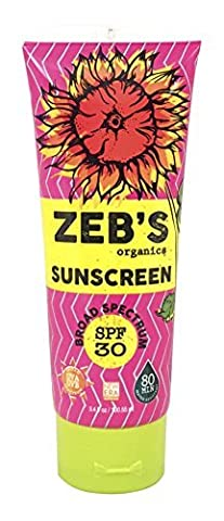 Zebs Organics Sunscreen, Natural & Organic, SPF 30, 3.4oz by Zeb's Organics