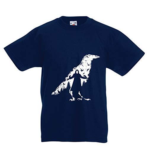 lepni.me Kinder Jungen/Mädchen T-Shirt Die Krähe - die Toten und die verlorenen Seelen (7-8 Years Dunkelblau ()