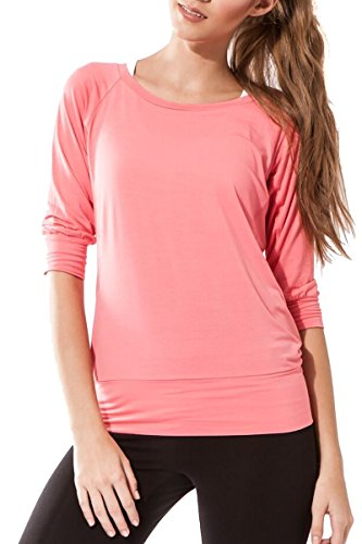 Sternitz Camisa Fitness para mujer, Ananda, ideal para hacer pilates, yoga y cualquier deporte, tela de bambú, ecológica y suave. Cuello redondo. Manga 3/4. (L, Rosado)