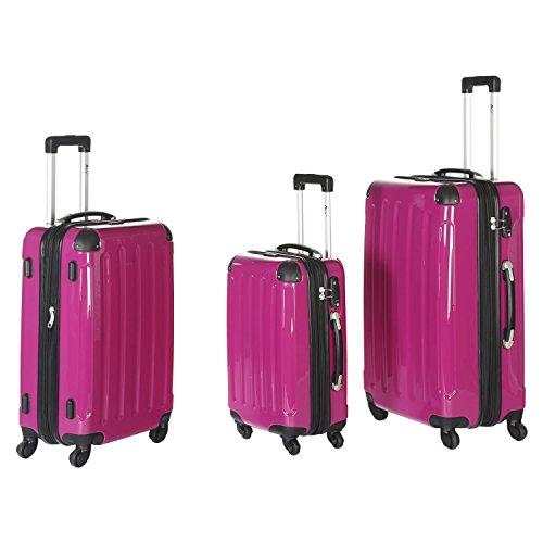IMEX 4 Rollen Trolley Reisekoffer-Set 3tlg mit TSA-Schloss stapelbar (Pink)