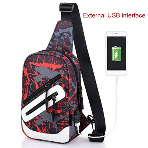 Leobtain Men's Sling Shoulder Bag Oxford Cloth Outdoor Chest Bag with USB Port Casual Crossbody Bag Satchel Backpack for Men's Business Hiking Travel