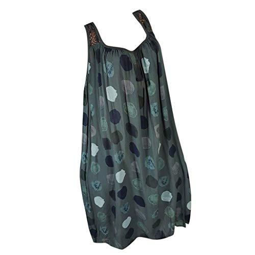 Sommerkleider Damen Kleider Große Größen,Plus Size Frauen Sommer zurück Lace ärmelloses Trägerkleid Strandkleid Damen Knielang Sommer Tunika Kleid Tops T-Shirt Kleid - Plus Size Chiffon-robe