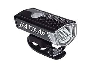 Havilah Bicicletta Luce Anteriore USB batteria 3 modalità bicicletta luce led 400 lumen, luce anteriore a LED faro bicicletta faro nero ampio angolo di fascio