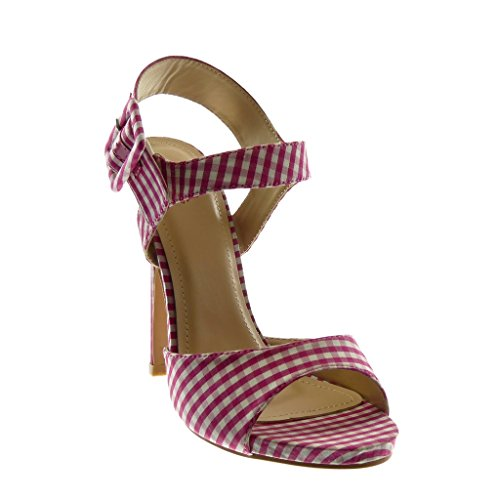 Angkorly Scarpe Moda Sandali Scarpe Decollete con Cinturino Alla Caviglia Stiletto Donna a Scacchi Tanga Fibbia Tacco Stiletto Alto 13 cm Fushia