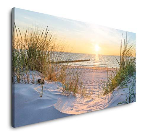 Paul Sinus Art Sonnenuntergang an der Ostsee 120x 60cm Panorama Leinwand Bild XXL Format Wandbilder Wohnzimmer Wohnung Deko Kunstdrucke