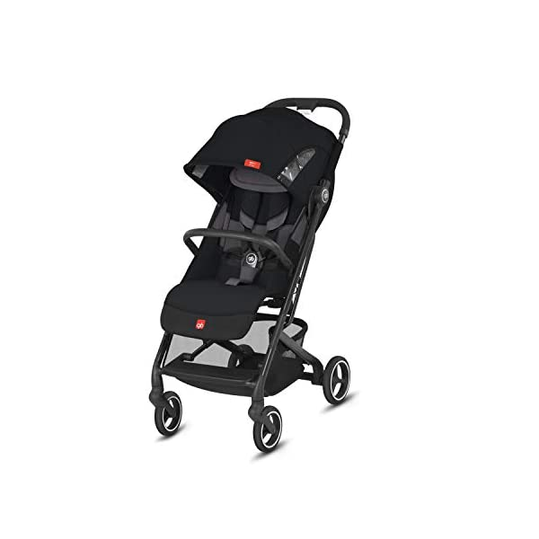 gb Gold Qbit+ All-City Compact Pushchair, Lie-Flat Reclining Seat, from Birth to 17 kg (Approx. 4 Years), Black Frame, Velvet Black GB High-quality and stable compact pushchair for newborns up to approx. 17 kg (approx. 4 years) with one-hand folding mechanism and full flat lying position Optimum comfort for children of all sizes: One-hand adjustable backrest and leg rest, Head and shoulder pads for extra comfort, Easy pushing on flat surfaces thanks to single wheels on front and rear, Four wheel suspension, Swivelling and lockable front wheels Simple folding with one-hand folding mechanism to compact travel size of L:27x W:43x H:58 cm, Can be used as 3-in-1 travel system with separately available adapter for gb or CYBEX infant car seats and Cot to Go pushchair attachment 1