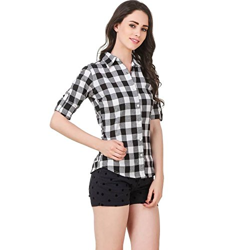DAMEN MODE Women's Cotton Check Shirt, Medium(Black and White, DMLPS2000_M)