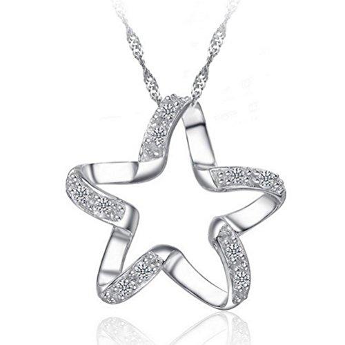 Collana stella in argento colorato - ciondolo in strass lucido delicato e raffinato - gioiello perfetto per dichiarare il tuo amore - regalo originale per la giovane donna ragazza festa di compleanno