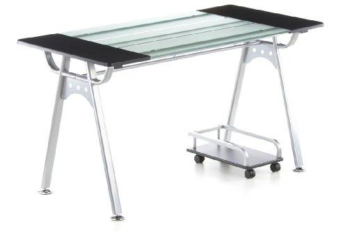hjh OFFICE 673896 Schreibtisch ORION graphit Glas silber, ideal für Home Office und Büro, robuste langlebige Glasfläche, ein solider Computertisch, Eckschreibtisch, Büroschreibtisch, Jugendschreibtisch (Glas-schreibtisch Büro)