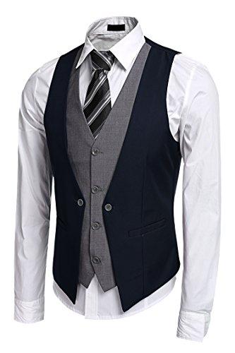 Burlady Anzugweste Herren V-Ausschnitt Ärmellose Westen Slim Fit Smoking Sakko Herrenweste Herrenanzug Anzug Business Hochzeit (EU 54(Hersteller:XL), 81-Blau)