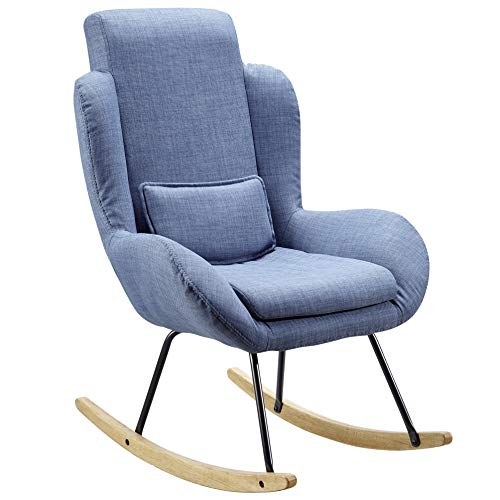 FineBuy Schaukelstuhl Corey Blau Design Relaxsessel 75 x 110 x 88,5 cm | Sessel Stoff/Holz | Schwingsessel mit Gestell | Polster Relaxstuhl Schaukelsessel | Moderner Schwingstuhl | Hochlehner - Hochlehner Schaukelstuhl
