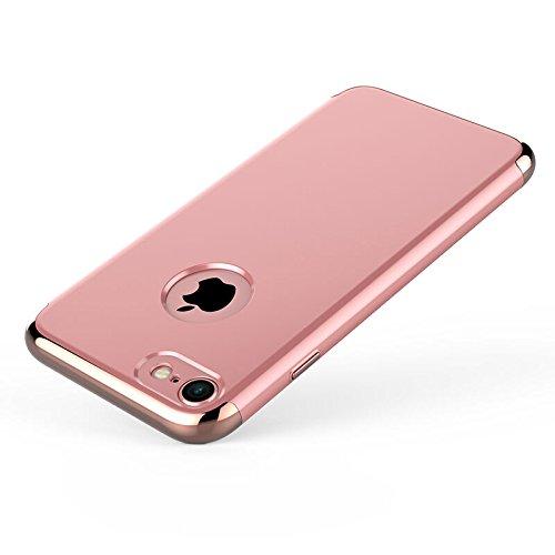 iPhone 7 Plus Hülle, Pasonomi [Hart Schale + PC Rahmen] Slim Hard Case Handyhülle Schutzhülle für Apple iPhone 7 Plus 5,5 Zoll (Rot) Rose Gold
