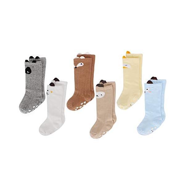 LACOFIA 6 Pares de calcetines largos de altos para bebé niñas Medias de algodón de punto princesa infantiles niña 1