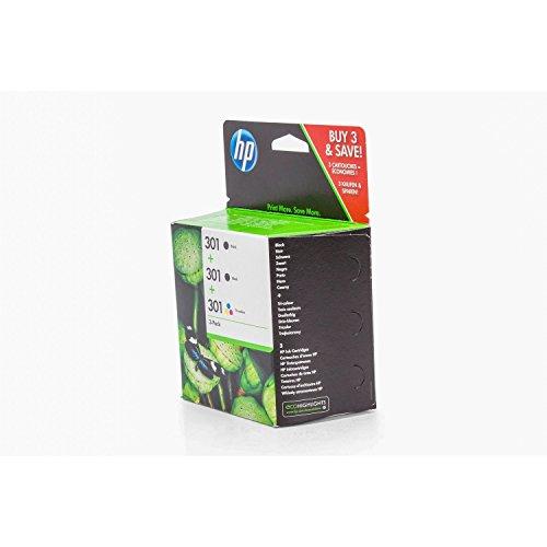 Original Tinte passend für HP DeskJet 3054 a HP 301 E5Y87EE - 3x Premium Drucker-Patrone - Schwarz, Cyan, Magenta, Gelb - 2x190 & 1x165 Seiten - 2x3 & 1x3 ml