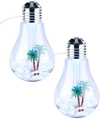 Carlo Milano Luftreiniger-LED: 2er-Set Luftbefeuchter im Glühbirnen-Design, mit Farb-LEDs & Deko (Deko-Glühbirne LED)