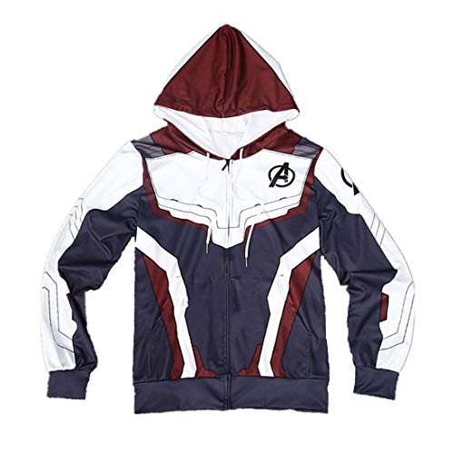 (YK Avengers 4: Endgame Battle Cosplay Costume Hooded Cardigan Casual Top Jacket Endgame Hero Battle Suit Fan Sweatshirt 2019 (S, Crimson))
