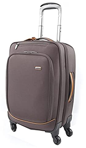 Melvin Xtra Lite 55cm Designer Spinner Hand Luggage Suitcase Small 38l & Lightweight 360° Rolling Travel Carry On 4 Wheel Cabin Trolley Case Lined Interior Telescopic Handle & TSA Lock Dark Brown