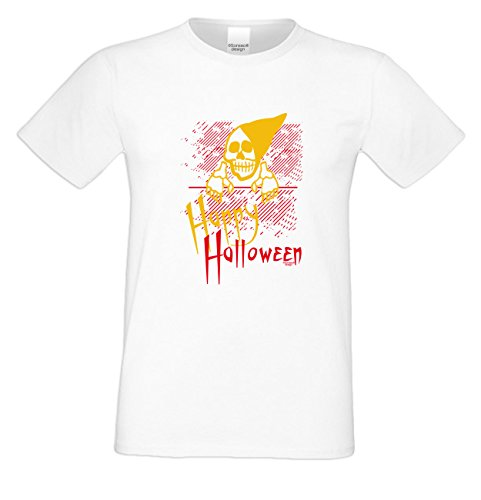 Mega Gruseliges Halloween-Herren-Fun-T-Shirt als Geschenke-Idee Motiv: Happy Halloween Farbe: weiss Weiß