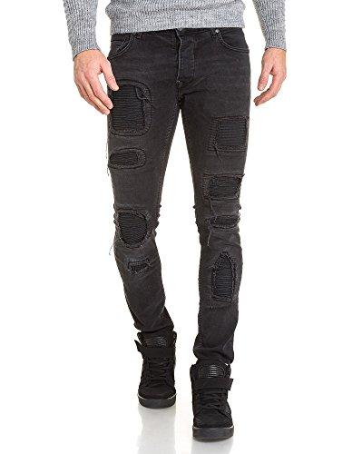 BLZ jeans - Jean noir homme fashion déchiré Noir