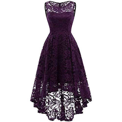 MIRRAY Damen Lace Rundhals Ärmelless Pure Color Swing Schlankes Kleid Asymmetrisches Abendkleid