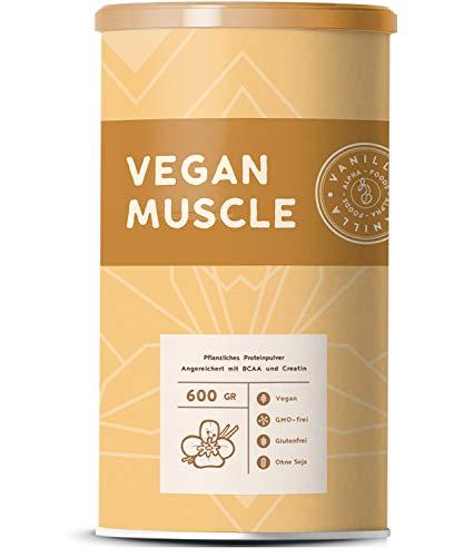 Vegan Muscle | VANILLE | Pflanzliches Protein aus gekeimten Samen | Mit BCAA und Creatin | 600g Pulver