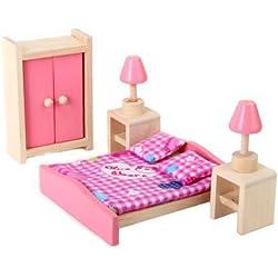 Ensemble de Mobiliers de Chambre à Coucher Miniature Jouet en Bois Meubles pour Maison de Poupée