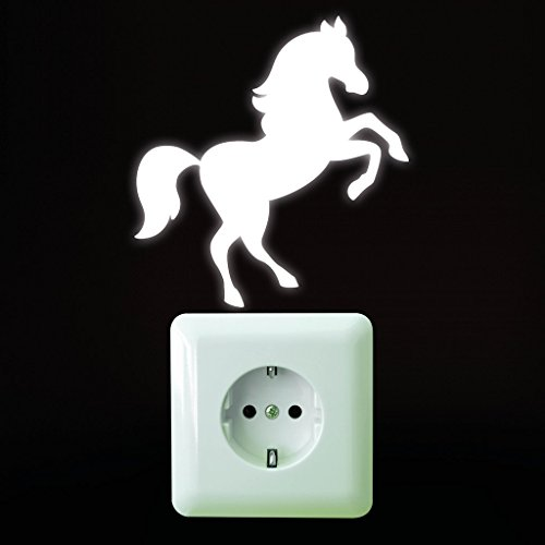 """Leuchtaufkleber Fluoreszierendes """"Pferd"""" von Wandtattoo-Loft® / Leuchtsticker für Steckdose oder Lichtschalter / Fluoreszierende leuchtende Sticker für das Kinderzimmer (Pferd Fliese Wandbild)"""