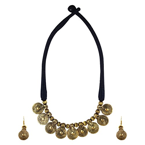 Arittra Designer Black Thread (dori\dorri) and Golden Antique Coin beads Necklace Set Choker\ Chokar \ handicraft \ Ethnic \ tribal \ statement \ Tibetan style with earrings for Women and Girls -Vale  available at amazon for Rs.249