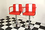 American Diner Furniture 50s Style Retro Bar /stools Chairs With Armrest Red x 2