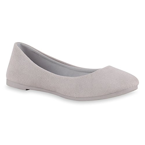 Damen Ballerinas Schuhe Halbschuh flache Schuhe Slipper Hellgrau
