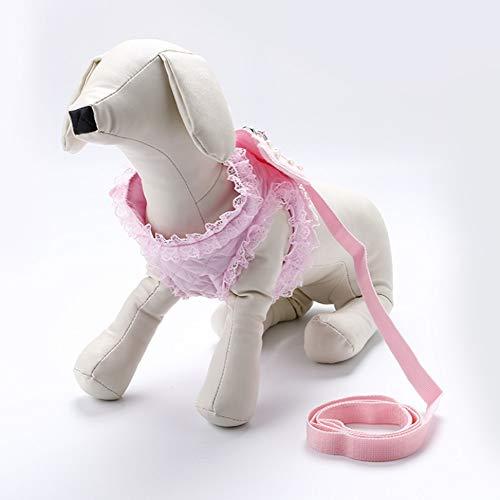 (SHIZHESHOP Rosa Hund Brustgeschirr Leine Hund Kette Spitze Seite Engelsflügel Perle Brust zurück Anzug Heimtierbedarf (Color : Pink, Size : S))