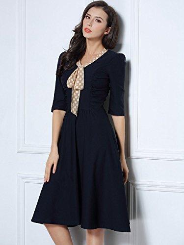 Miusol Damen V-Ausschnitt Schleife Cocktailkleid Faltenrock 50er 60er Jahr Party Stretch?Kleid Blau Gr.L - 4