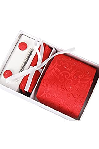 4 Stück Krawatte Set für Männer Hochzeit Weihnachtsgeschenk mit Tie Clip Square Handtuch Manschettenknöpfe und Krawatte