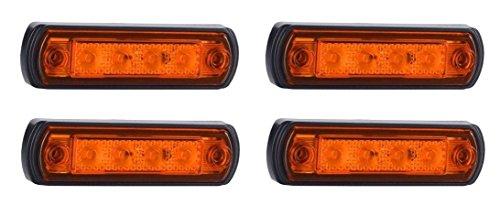 Preisvergleich Produktbild 4x 12V 24V ORANGE Bernstein LED vorne Outline Marker Outline E-Prfzeichen Kelsa Bar Bull Bar Lichter Truck Wohnmobil SUV Camper Caravan