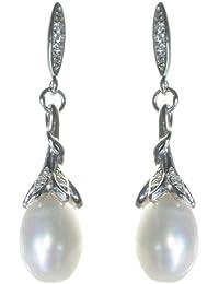 Klassische 925 Sterling Silber Süßwasser-Zuchtperlen Damen - Paar Ohrringe mit Zirkonia 7.0mm